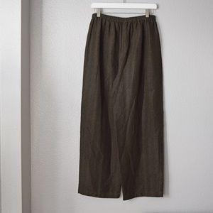 Eileen Fisher Silk Linen Pants Size Medium Green